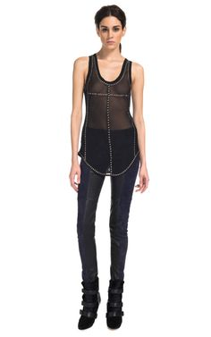 Phil Embroidered Georgette Top In Black by Isabel Marant for Preorder on Moda Operandi