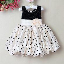 Venda quente de alta qualidade de algodão sem mangas Formal de moda vestido de menina de flor preto para anos meninas(China (Mainland))