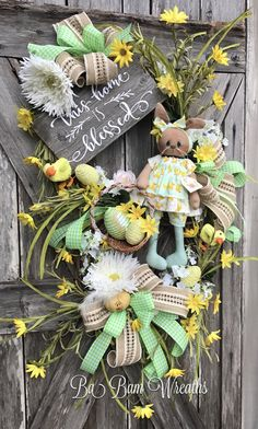 Bless This Home, Floral Wreath, Spring Wreath, Spring Decor, Spring Door, Spring Swag, Bunny Wreath, Bunny Decor, Easter Wreath, Easter Swag, Easter Decor  Bless This Home 🐰 Grassy Green & Sunshine Yellow~ create an inviting welcome to the Spring season! This wreath is simply stunning! Features a wide assortment of gorgeous florals, lush greens, an adorable bunny, designer ribbons and a handmade sign by K&J Designs~ this wreath will make you and your neighbors smile & take a seco...