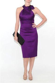 Karen Millen Folded Satin Eva Longoria PURPLE Dress, UK 8, Eu 36  #KarenMillen #StretchBodycon #Clubwear