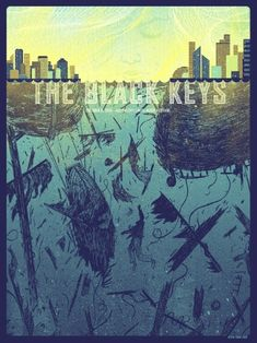 "The Black Keys Poster by Kevin Tong. This is also supposedly the poster that's hanging on the back of Nick's door on ""New Girl. The Black Keys, Tour Posters, Band Posters, Event Posters, Design Graphique, Art Graphique, Festival Posters, Concert Posters, Jimi Hendricks"