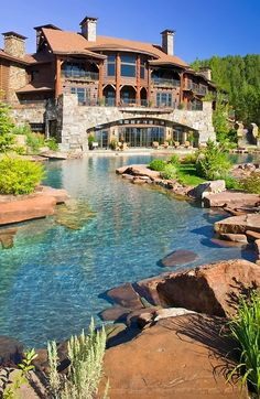 Pool but looks like a creek- I want this pool for my imaginary home!