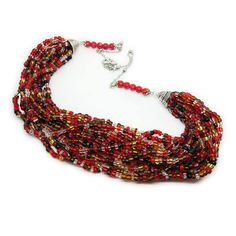 Red brown multistrand necklace Seed bead necklace Waterfall go down necklace Layered beadwork necklace Wife Christmas gift Statement necklace  This chunky necklace is made with pretty red and brown glass seed deads. It is decorated with ten red color glass beads. This delicate, statement beaded necklace is simply gorgeous! This elegant necklace is a perfect for girl and woman in any situation and status.  Each purchase comes carefully packaged.  ◆MEASUREMENTS Length 24.41 in ( 62 cm ) Weight…