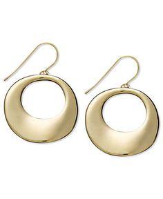 14k Gold Earrings, Open Circle Round Drop Earrings - Jewelry & Watches - Macy's