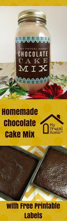 Homemade Chocolate Cake Mix Recipe - includes a free printable label