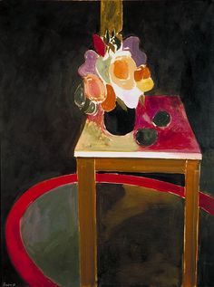 Donald Hamilton Fraser (British, b. 1929), Table with Flowers and Red Mat, 1958. Oil and pencil on linen, 481/8 x 361/8 in.