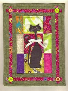 Black Cat  Quilted Wall Hanging  Art Quilt by ElleJays on Etsy, $16.00