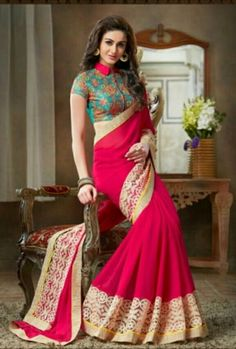 Color -As shown image  Saree fabric -Pure Georgette  Blouse fabric- Banglori Silk  Work -Embroidery, Lace
