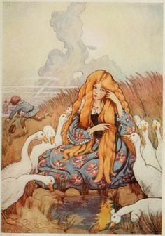 Image result for beautiful fairy tale illustrations the goose girl