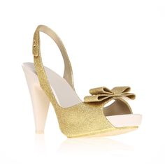 sky glitter, gold shoe by melissa - women shoes occasion