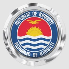 Shop Kiribati Round Emblem Classic Round Sticker created by KDR_DESIGN. Kiribati Flag, Round Stickers, Art For Kids, Custom Stickers, Activities For Kids, Diy Projects, Flags, Classic, Seal