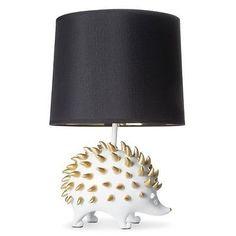 "Hedgehog Figural Table Lamp Lighting Rustic Decor 16"" White Gold Black Resin"
