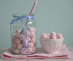 Lemon or mixed bonbons on tables? Dad gets coffee jars just like this.