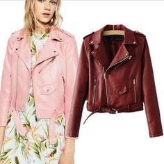 Sale US $32.84  2017 New Autumn Winter Women Motorcycle Faux PU Leather Wine Red Jackets Lady Biker Outerwear Coat with Belt Hot Sale  . Get here: Leather Waistcoat Womens.