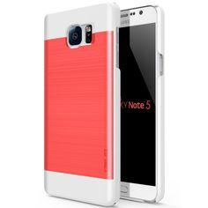 Obliq Galaxy Note 5 Case Slim Meta Series - Scalet Red/White