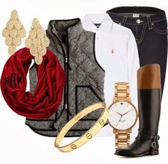 herringbone puffer vest, polo Ralph Lauren classic white button-down shirt, riding boots, monogrammed scarf, pants. my oh my!