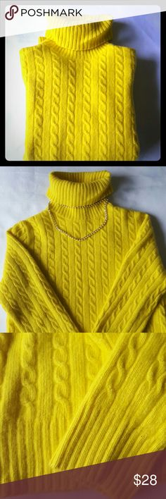 J. Crew turtleneck sweater I am seling bright yellow J.CREW turtleneck sweater . This is one gorgeous sweater that will be great addition to your closet.  The item is excellent condition.  Very comfy and so soft to the tuch.  Size L but will fit more like M J. Crew Sweaters Cowl & Turtlenecks