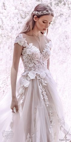 galia lahav gala 4 2018 bridal cap sleeves sweetheart neckline heavily embellished bodice tulle skirt romantic princess a line wedding dress mid lace back royal train (902) zv -- Gala by Galia Lahav 2018 Wedding Dresses