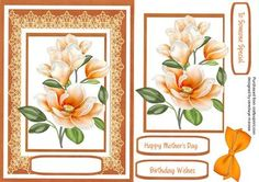 Lovely Apricot Magnolias on fine lace  on Craftsuprint - Add To Basket!