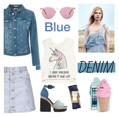 """Blue Denim"" by nicolevalents ❤ liked on Polyvore featuring Tommy Hilfiger, Topshop, Pierre Hardy, Tory Burch, Forever 21, Oliver Peoples and Kate Spade"