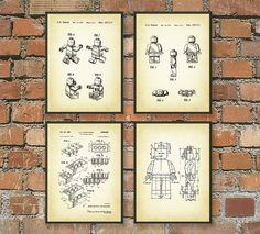 Lego Patent Wall Art Poster Set 1 by QuantumPrints on Etsy, £14.00
