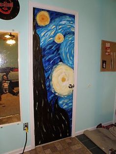 Painted Bedroom Doors, Art Room Doors, Painted Doors, Room Ideas Bedroom, Bedroom Art, Quirky Bedroom, Earthy Bedroom, Design Bedroom, Cute Room Decor
