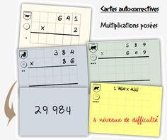 96 cartes auto-correctives Multiplication posée - Craie hâtive