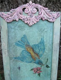 "Bird Painting,Shabby Chic Home Decor, Vintage Bird with Pink Roses, Aqua Frame Original Art Bird, Shabby Pink, 9 3/4"" x 19"""