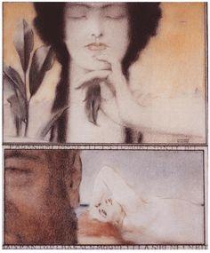 """Fernand Khnopff (Belgian, 1858-1921). Paganism. c. 1910. Colored pencils on paper. (d'après Sainte-Beuve, """"Paganisme immortel, es-tu mort?"""")"""