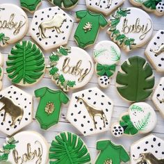 beautiful cookies for a jungle themed baby shower! Safari Baby Shower Cake, Baby Shower Giraffe, Baby Shower Niño, Baby Shower Cookies, Baby Shower Parties, Baby Shower Themes, Jungle Theme Baby Shower, Jungle Baby Showers, Shower Ideas