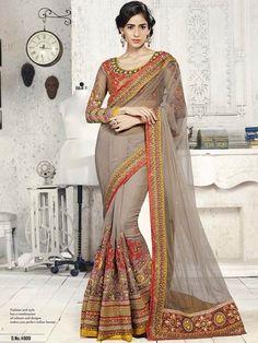Grey color Heavy Work Bridal Saree