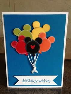 Disney Mickey Head Balloons Card-- use SU punches and the feet from the Owl builder punch for the bottom of the balloon. Boy Cards, Kids Cards, Cute Cards, Disney Scrapbook, Scrapbook Cards, Scrapbooking, Kids Birthday Cards, Handmade Birthday Cards, Disney Birthday Card