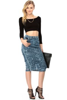 Acid Wash Denim Midi Skirt @ Cicihot Pants Online Store: sexy pants,sexy club wear,women's leather pants, hot pants,tight pants,sweat pants,black pants,baggy pants