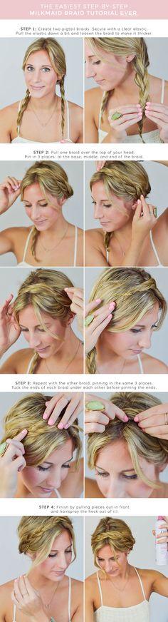 milkmaid braid tutorial, hair tutorial, braids, braid hairstyle, blonde hair, braided updos