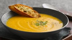 You will really enjoy sipping on this squash soup sweetened with apple and a hint of cinnamon.