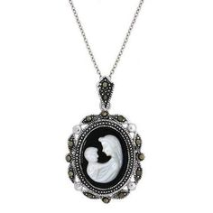 I <3 Cameo Jewelry!!  Sterling Silver Marcasite Cameo Necklace of mother and child (White ) - product summary - Bing Shopping