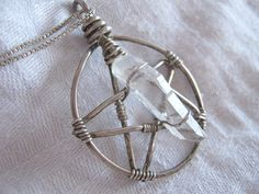 Wire Wrapped Pentacle Pendant with Double Terminated Quartz Crystal