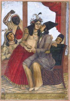 EMBRACING LOVERS CAUGHT BY HOUSEMAIDS, SIGNED BY MIRZA BABA NAQQASHBASHI, PERSIA, QAJAR, CIRCA 1860