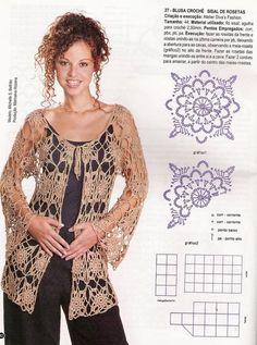 Ideas Crochet Patrones Blusas For 2019 Crochet Bolero, Pull Crochet, Gilet Crochet, Crochet Cover Up, Crochet Wool, Crochet Cardigan Pattern, Crochet Jacket, Crochet Stitches Patterns, Crochet Blouse