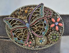 Boho chic butterfly belt buckle Antique gold by CreativityAtPlay, $60.00