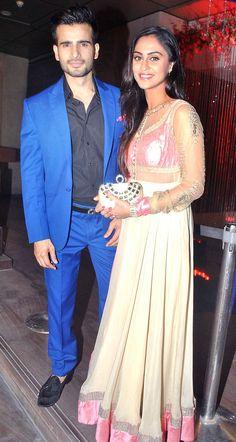 Karan Tacker and Krystle D'Souza at Karan Patel and Ankita Bhargava's sangeet…