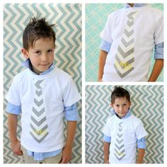 Chevron Fabric Tie Shirts w Personalization or Monogram. Sizes 12 months - Youth Boy's. Gray, Navy Blue, Teal, Yellow, Black, OR Multi Blue