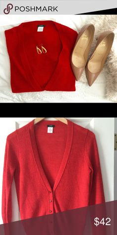 Jcrew cardigan Jcrew red cardigan in size small; 48% Acrylic 37% Super Fine Alpaca 18% Merino wool ; gorgeous sweater with red crystal buttons, looks great over dresses or with jeans J. Crew Sweaters Cardigans