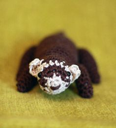 Easy Crochet Animals, Ferrets, Mammals, Fiber Art, Knit Crochet, Stud Earrings, Autumn, Dolls, Knitting