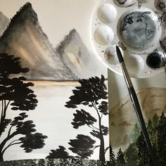 "85 Likes, 2 Comments - Ananas Ink. (@ananas_ink) on Instagram: ""Landscaping a little! #japaneselandscape #quink #blackink #watercolor #landscape #illustration…"""