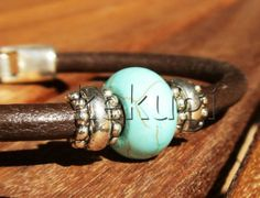 women brown leather bracelet with silver beads and by kekugi, $18.00