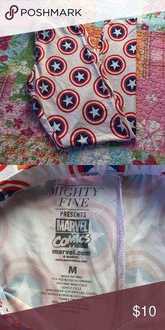 Mighty fine Captain America leggings Mighty fine presents marvel comics Captain America leggings size medium. Great condition only worn once! No stains or tears! Mighty Fine Pants Leggings