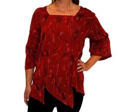 We Be Bop Plus Size 3X Top  DeYoung Carmel Tunic Red Petal Cut Crinkle Rayon #WeBeBop #Blouse #PlusSize #Fashion #Apparel #Shopping #eBay