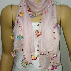 Crochet Flowers Scarf - Light Pink scarf with handmade multi color oya flowers - Pink Blush scarf - Beaded Scarf - Crochet Beaded Scarf – istanbulOYANot crochet, but with beadwork!How to Make a Crochet Hat - Crochet IdeasShop for scarf on Etsy, the Crochet Flower Scarf, Crochet Flower Patterns, Crochet Scarves, Crochet Flowers, Mode Crochet, Hand Crochet, Crochet Lace, Crochet Edgings, Couleur Rose Pastel