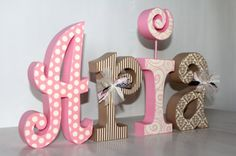 Baby Girl Nursery Decor Personalized Large Wooden Letters